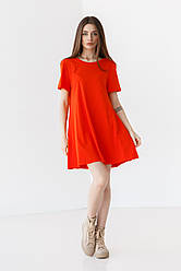 Приятное короткое хлопковое платье свободного кроя с круглым вырезом в 5 цветах в размере S, M, L.