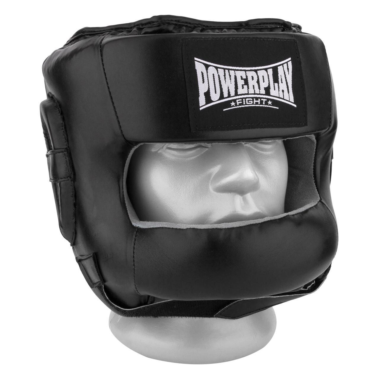 Боксерський шолом тренувальний PowerPlay 3067 з бампером PU + Amara L Чорний (PP_3067_L_Black)