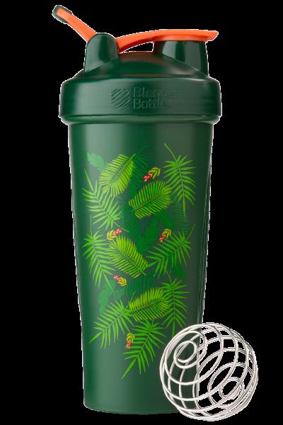 Спортивний шейкер BlenderBottle Classic Loop 820 ml Special Edition Green-Coral Art Palm