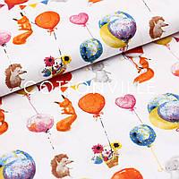 Хлопковая ткань Зверята с шариками