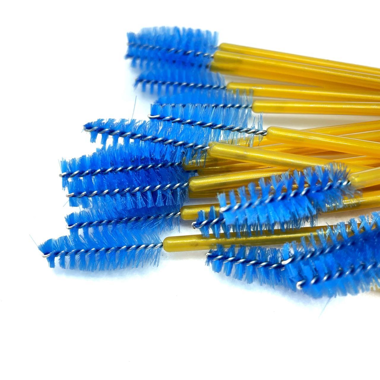 Щіточка для вій нейлонова ручка золота, ворс синій (50шт/уп)