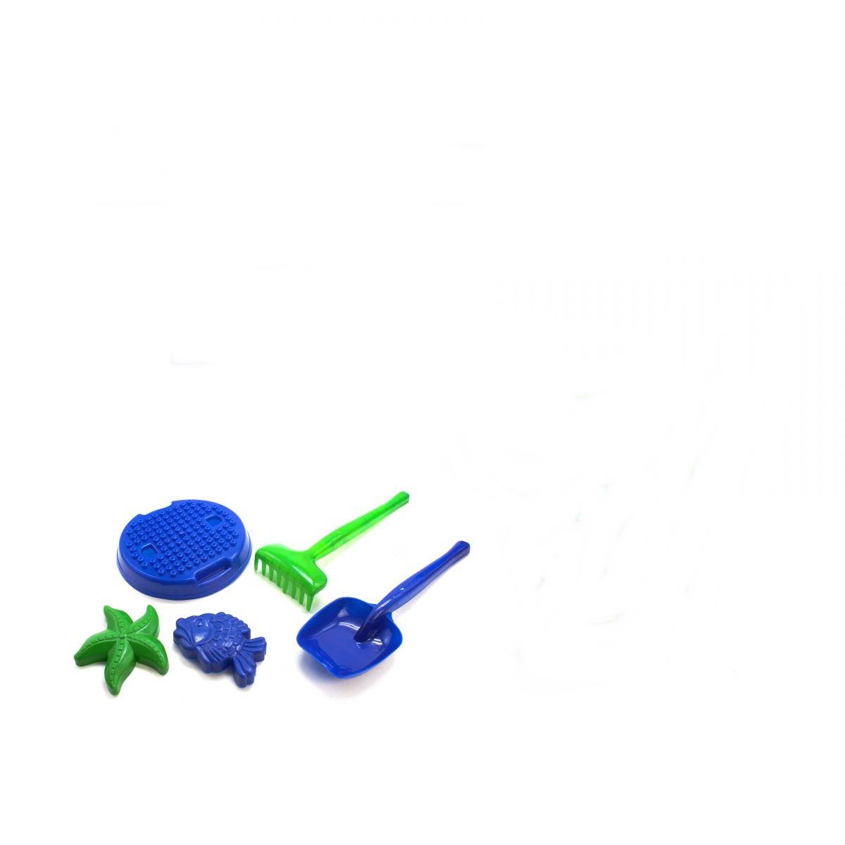 Песочный набор - лопата, грабли, ситечко и пасочки   MAX GROUP