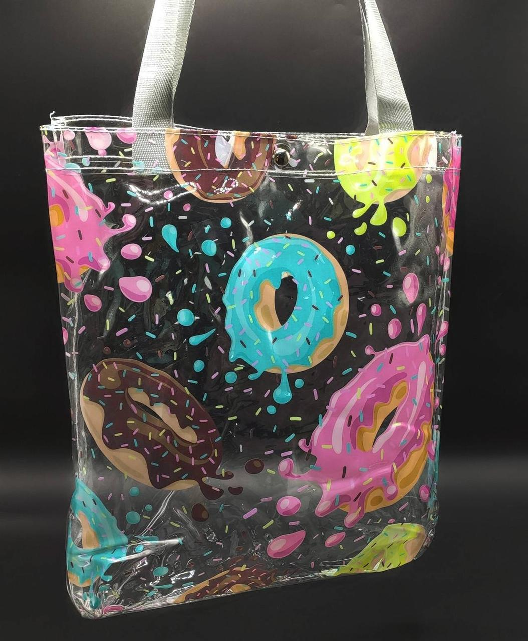 Прозрачная сумка шоппер - пончики