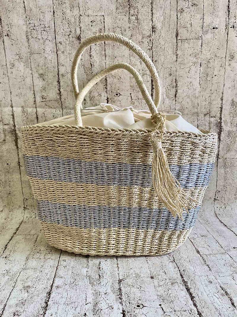 Плетеная сумка-корзина 2 Цвета : Светлый