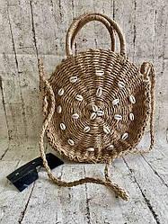 Женская плетеная сумка с ракушками 2 Цвета : Темный