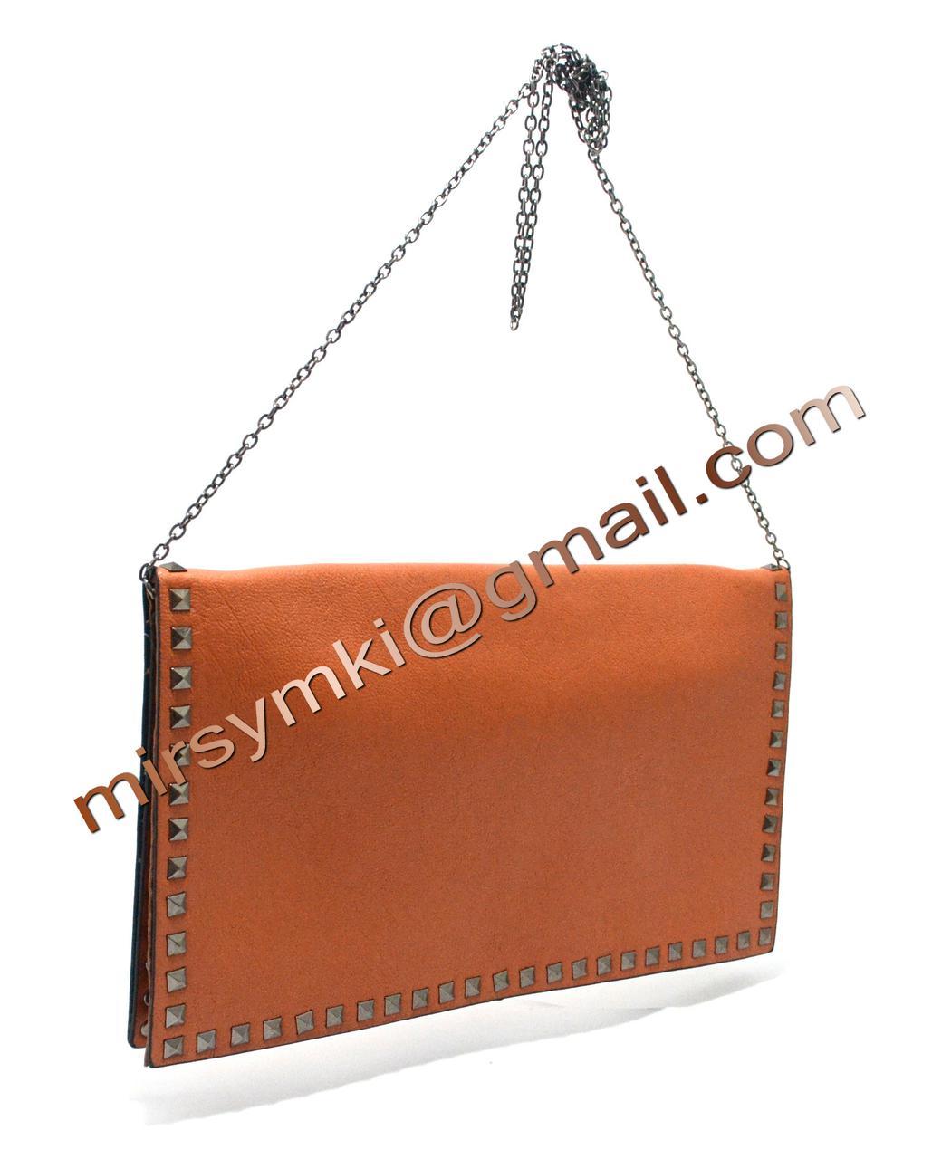 Клатч женский even with handle orange (Размер 33x21x1 ручка 1метр 30)