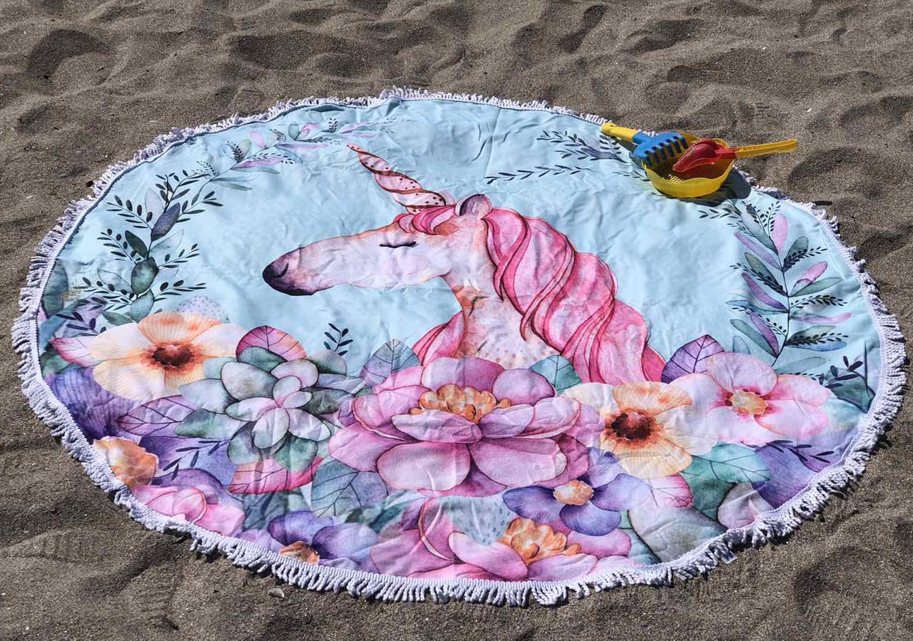 Пляжное покрывало с ярким принтом  Unicorn