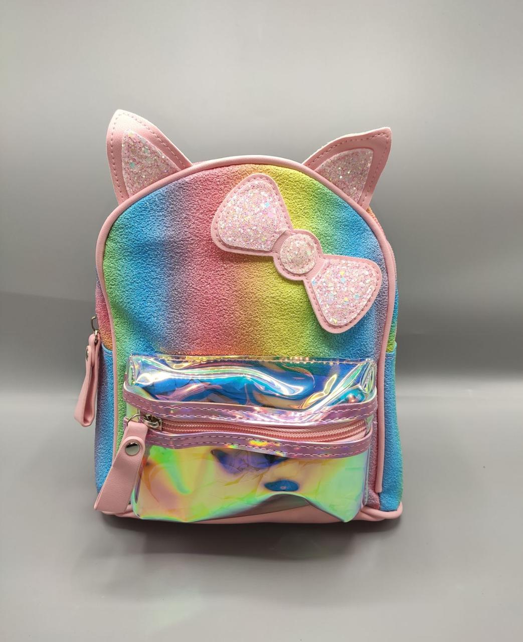 Дитячий рюкзак з бантиком 4 кольори - рожевий