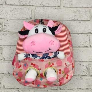 Детский рюкзак с игрушкой -коровка - розовый