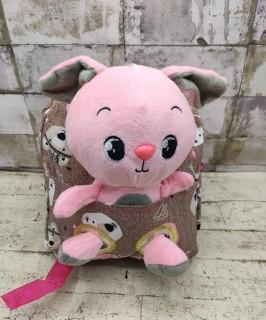 Дитячий рюкзак з м'якою іграшкою Зайчик 6 Кольору Рожевий