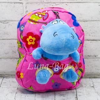 Детский рюкзак с мягкой игрушкой Бегемотик Цвет: розовый-голубой
