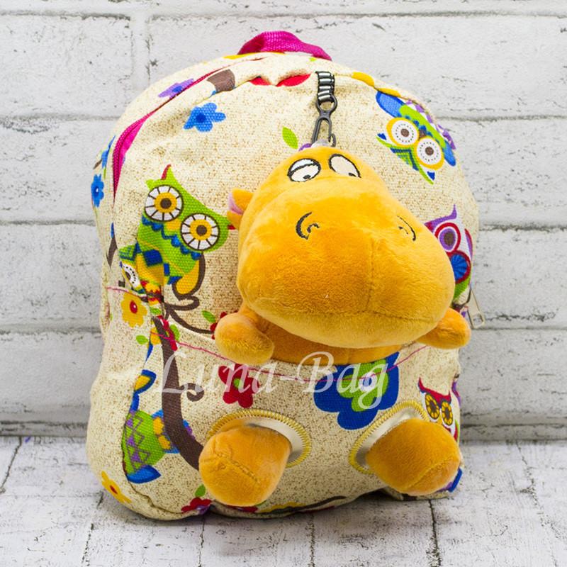 Детский рюкзак с мягкой игрушкой Бегемотик Цвет:бежевый