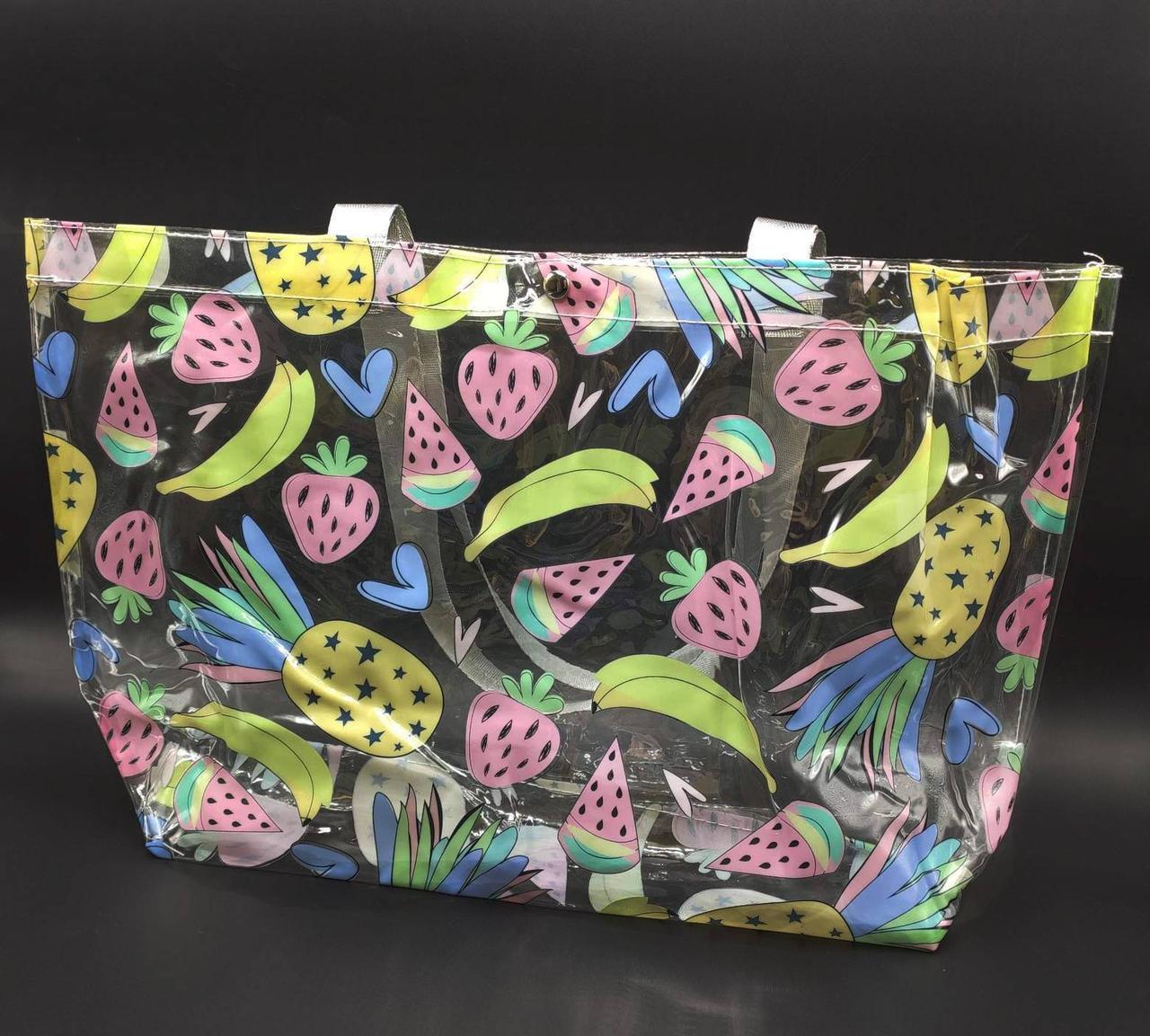Прозора стильна сумка - фрукти