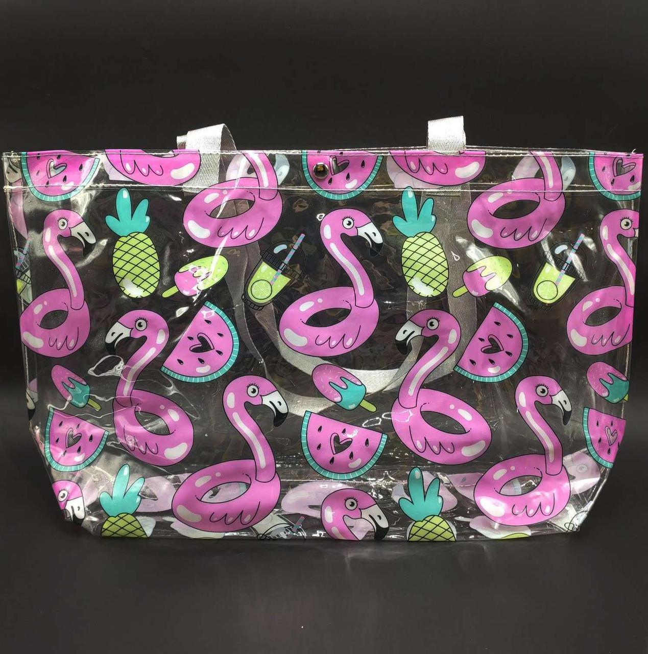 Прозора стильна сумка - фламінго