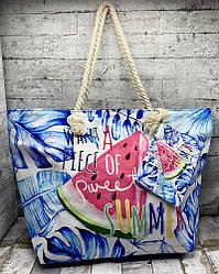 """Літня сумка з барвистим малюнком """"Кавун"""" блакитний"""