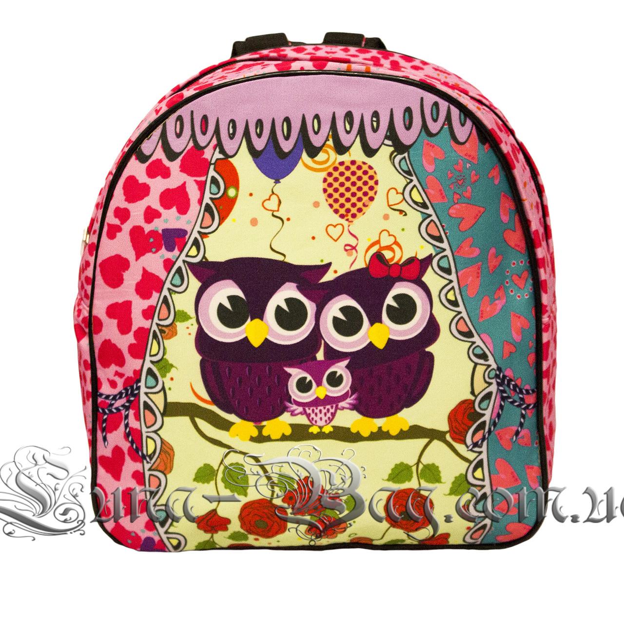 Яскравий літній рюкзак Bright owls 4 Кольори . Малиновий (29x27x11 див.)