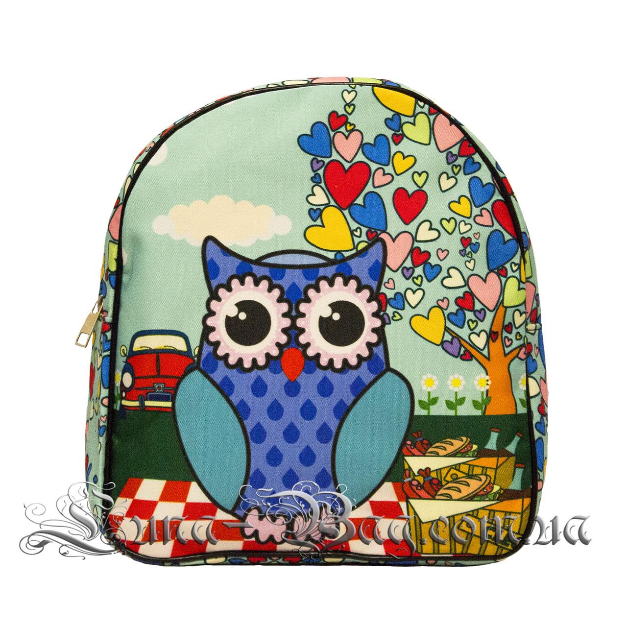 Яскравий літній рюкзак Bright owls 4 Кольори . Синій (29x27x11 див.)