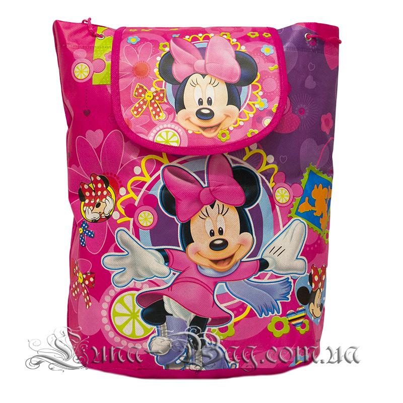 Детский рюкзак с рисунком (Mickey Mouse) 5 Цветов Малиновый (35x32x12 см.)В упаковке 12 шт