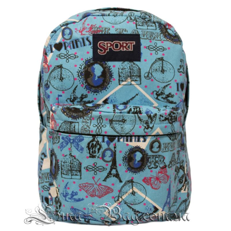 Спортивний рюкзак (Sport) з принтом (PARIS) 7 Кольорів Синій (41x27x11 cm.)