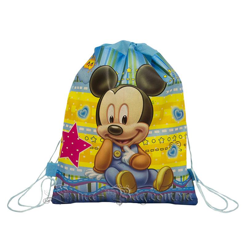 Детский рюкзак с рисунком (Mickey Mouse)  Цвет Синий.В упаковке 12 шт