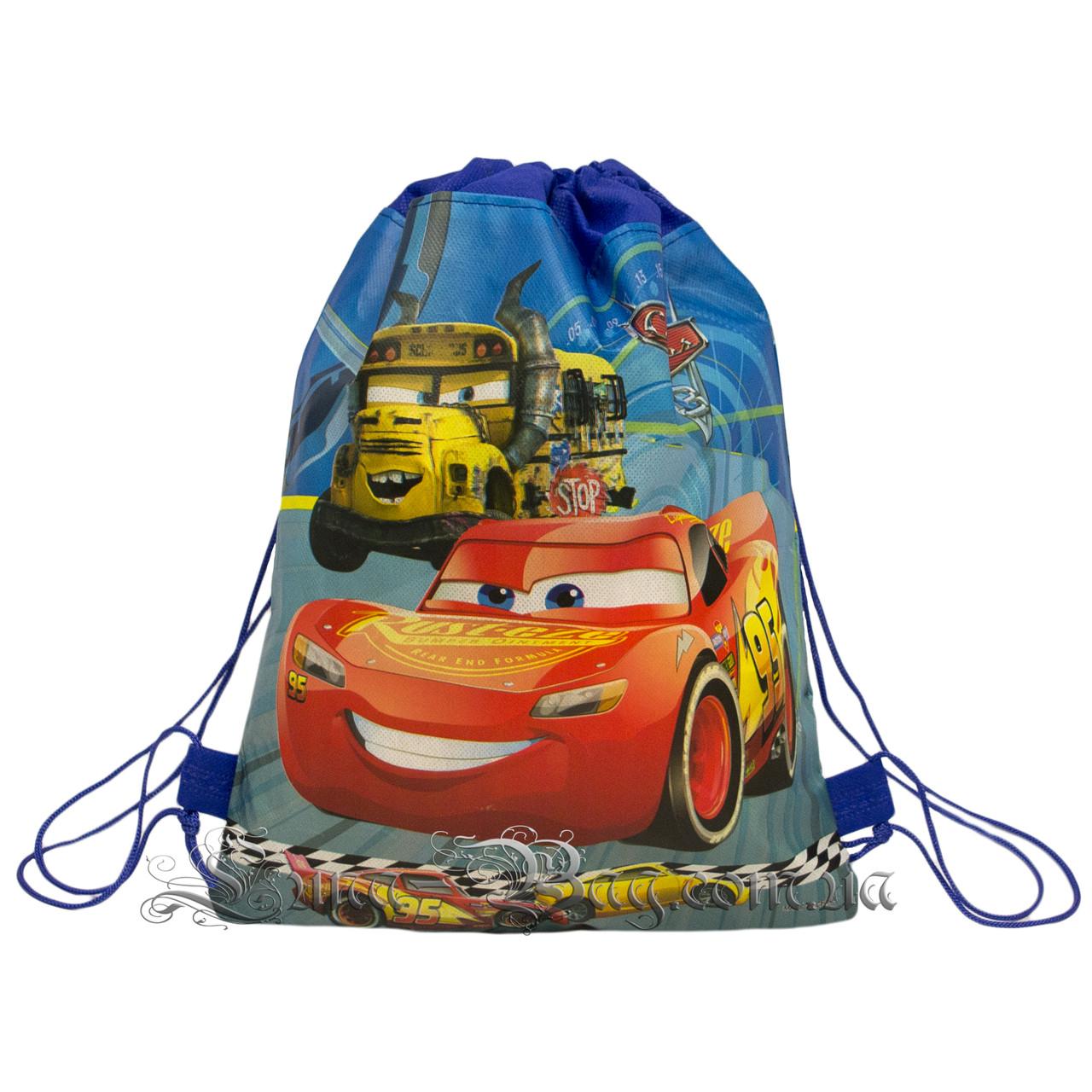 Детский рюкзак с рисунком (Тачки) Цвет Синий. В упаковке 12 шт