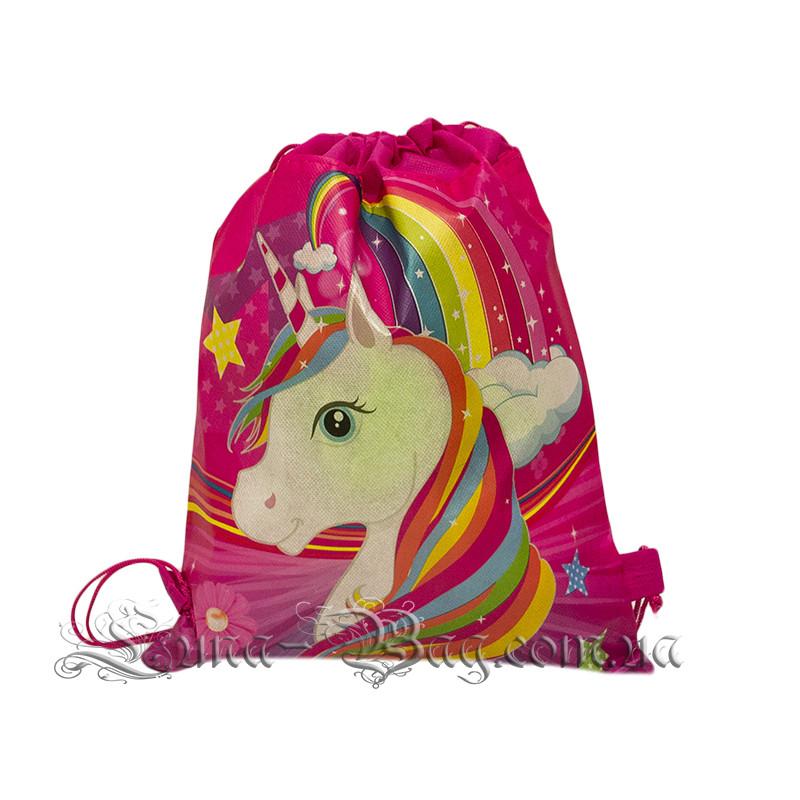 Детский рюкзак с рисунком (Rainbow Pony) Цвет Розовый/ В Упаковке 12 шт
