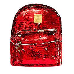 Жіночий рюкзак з блискітками 6 Кольорів Червоний.(24x18x12 cm.)
