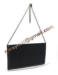 Клатч женский even with handle black (Размер 33x21x1 ручка 1метр 30)