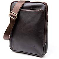 Модная сумка планшет с накладным карманом на молнии в гладкой коже 11282 SHVIGEL, Коричневая