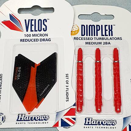 Набір Dimplex хвостовик+оперення дартс 3 штуки Harrows Англія, фото 2