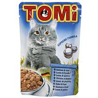 Консервы для кошек TOMi ЛОСОСЬ ФОРЕЛЬ (salmon, trout), пауч 0.1 кг