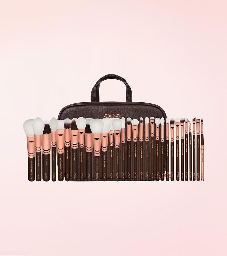 Набір кистей для макіяжу Zoeva Makeup Artist Zoe Bag Golden Rose Vol. 1 -30 шт