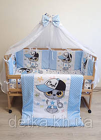 """Комплект постільний з бортиками і балдахіном в дитяче ліжечко """"Минки - принт"""""""