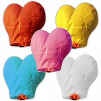 Небесные фонарики желаний сердце разноцветное большое 105см