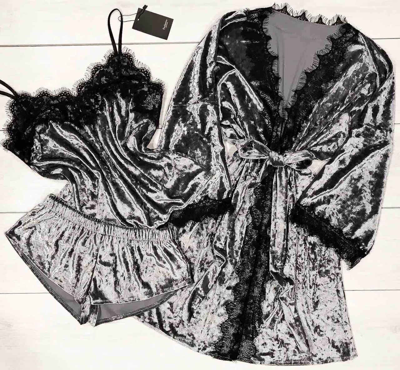 Піжама і халат з мереживом Велюрова жіночий одяг для дому та відпочинку