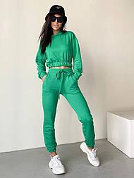 Костюм женский спортивный прогулочный: худи укороченное на резинке с капюшоном и штаны-джоггеры (в расцветках)