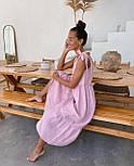 Сарафан миди женский льняной с завязками свободного кроя (в расцветках), фото 8