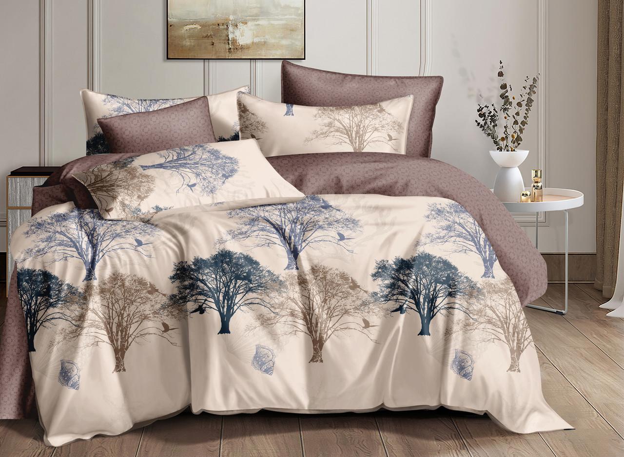 """Комплект постельного белья бежевый в размерах """"Волшебное дерево"""" из сатина"""