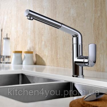 Однозахватный кухонний змішувач Blue Water Польща Stil Chrom з висувним душем