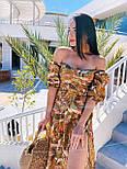 Сарафан со спущенными плечами и разрезом по ноге принт листья (в расцветках), фото 7