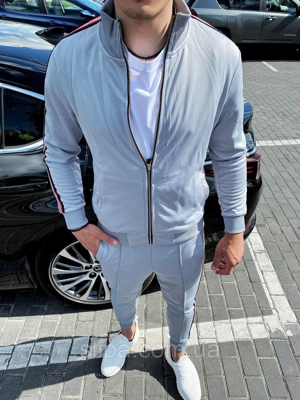 Серый спортивный костюм мужской с цветным лампасом без капюшона | Турция | 100% хлопок