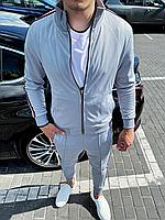 Серый спортивный костюм мужской с цветным лампасом без капюшона | Турция | 100% хлопок, фото 1