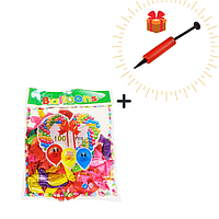 Набор латексных воздушных шаров для надувания воздухом или гелием 100 шт разноцветных + подарок Мини насос, фото 1