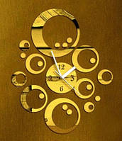 Золотые виниловые наклейки - часы настенные круги декоративные стикеры