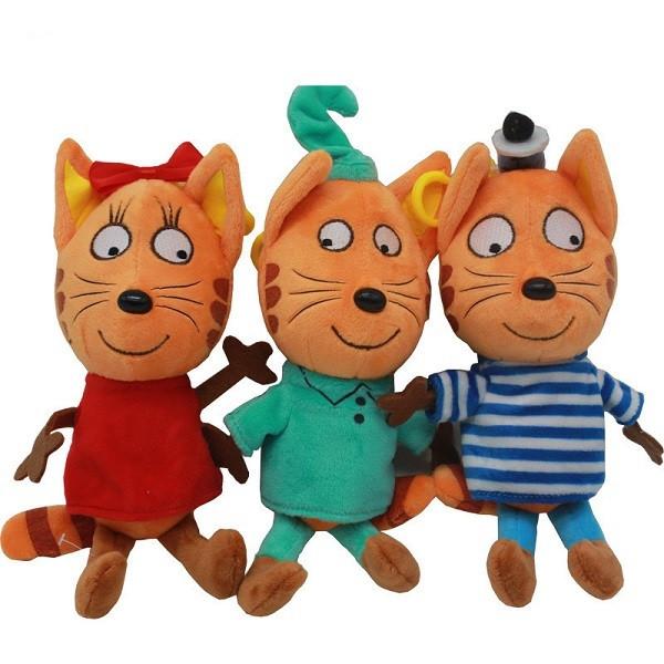 """Мягкая игрушка из мультфильма """"Три кота"""" Коржик, Компот, Карамелька 17см"""