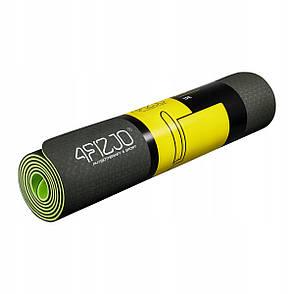Коврик мат для йоги и фитнеса 4FIZJO TPE 6 мм 4FJ0032 Black/Green, фото 2