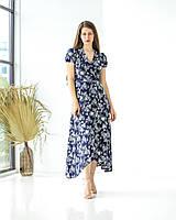 Платье легкое штапельное в синем цвете с принтом