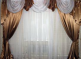 Комплект ламбрекен с шторами на карниз 3м. Цвет коричневый с белым. Код 058лш 79-012
