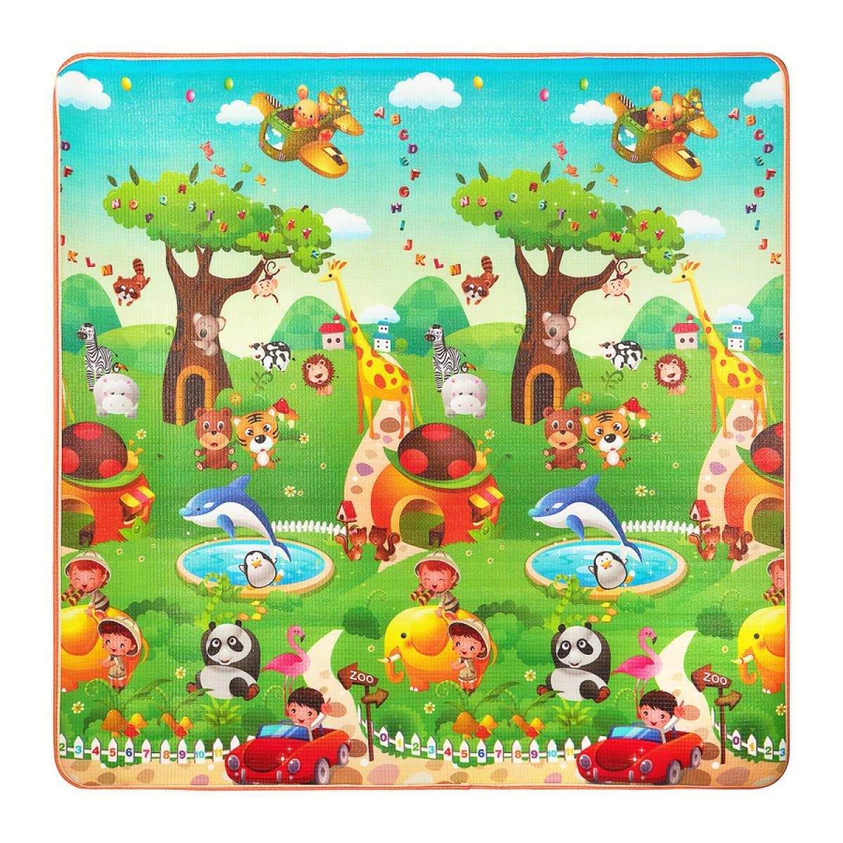 Розвиваючий дитячий килимок промокає двосторонній 4FIZJO KIDS 180 x 180 x 1 см