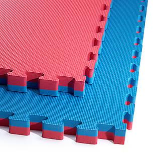 Мат пазл (ласточкин хвост) коврик татами 4FIZJO Mat Puzzle EVA 100 x 100 x 4 cм 4FJ0169 Blue/Red, фото 2